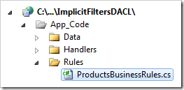 ProductsBusinessRules file in the Code On Time web application.