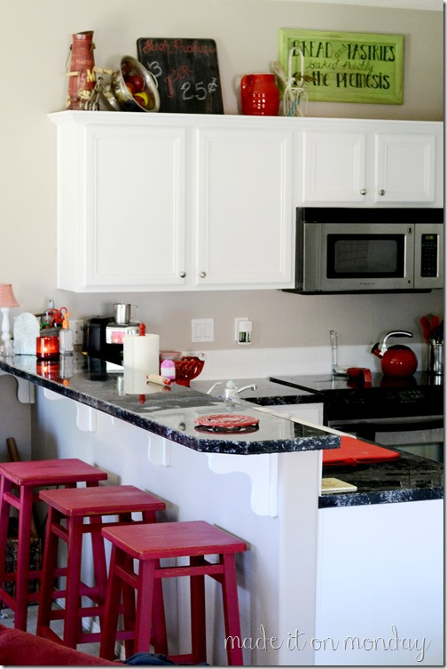 Red Buffet & Barstools | Homemade Chalk Paint