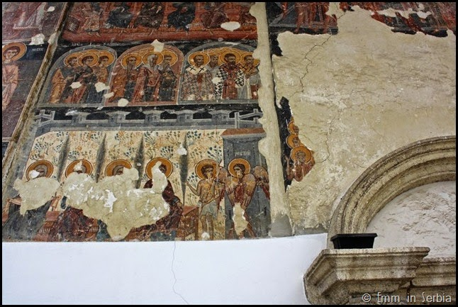 Paintings of exterior of church at Krusedol Monastery