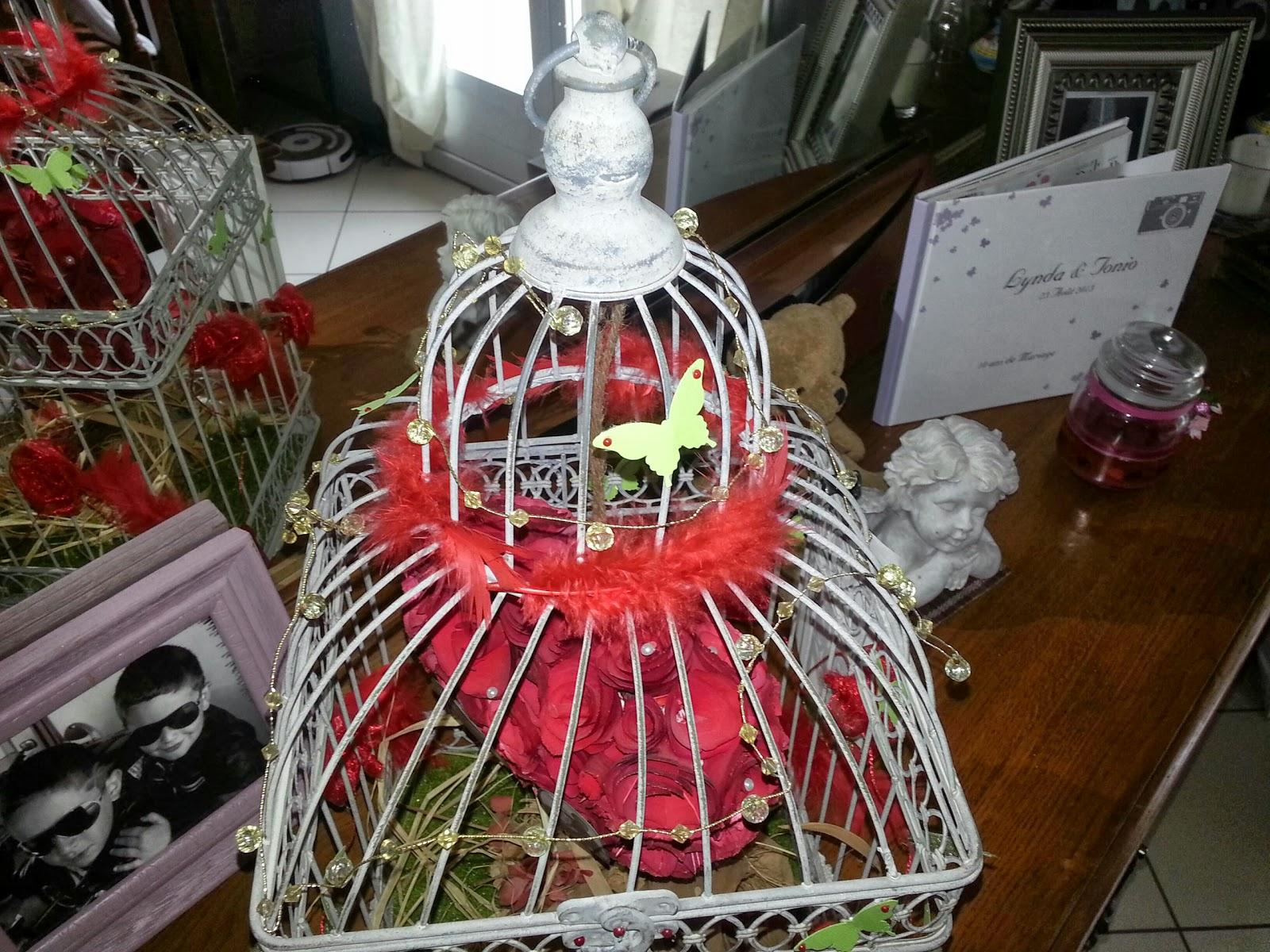 la cage a t acheter a gifi et ensuite deco avec le theme du mariage et une petite composition de table - Gifi Mariage