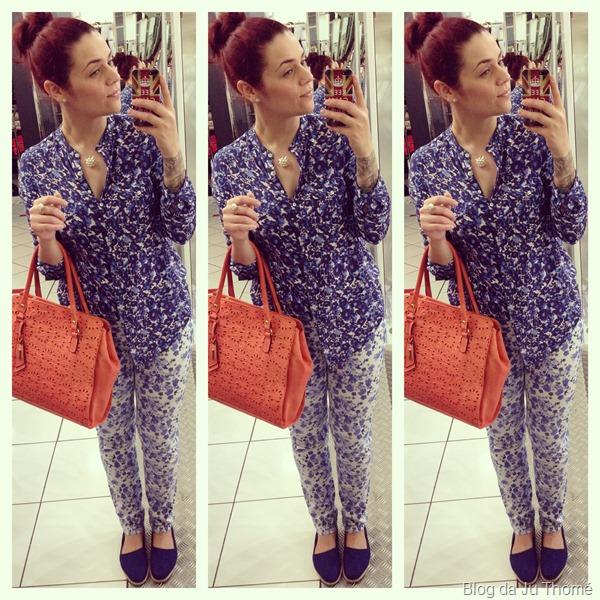 look mix de estampas azul alpargata e bolsa laranja (1)