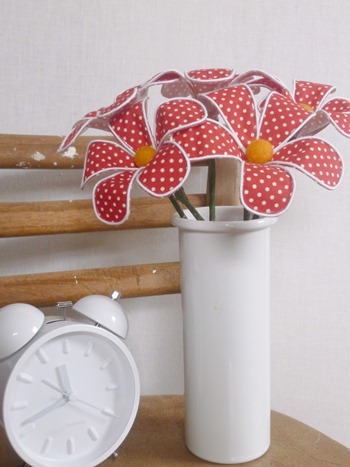 fabric flowers red