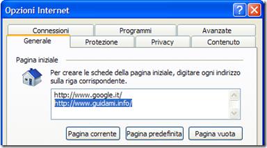 Opzioni Internet di Internet Explorer
