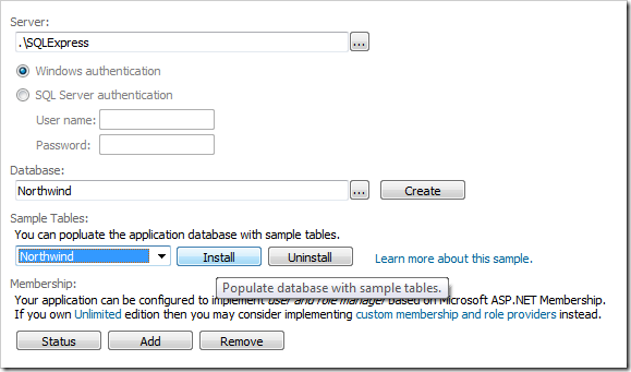 Install Northwind sample table in SQL Express