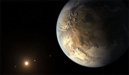 ilustração mostra como seria o planeta Kepler-186f
