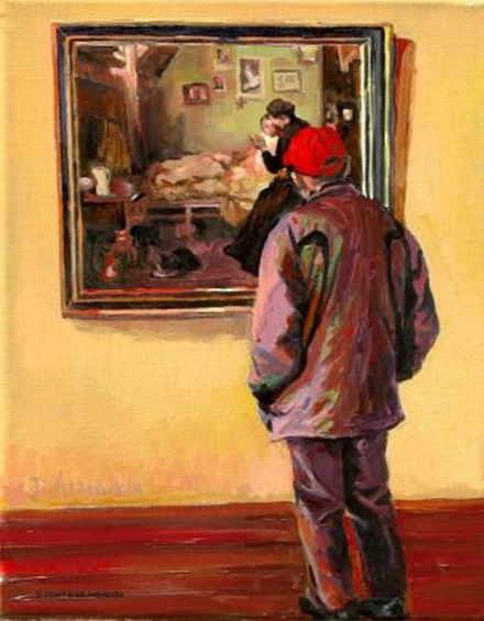 At the museum- man in the red cap