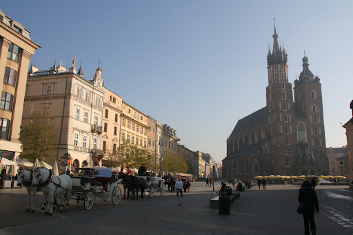 St. Mary's Church towers over Krakow's main square