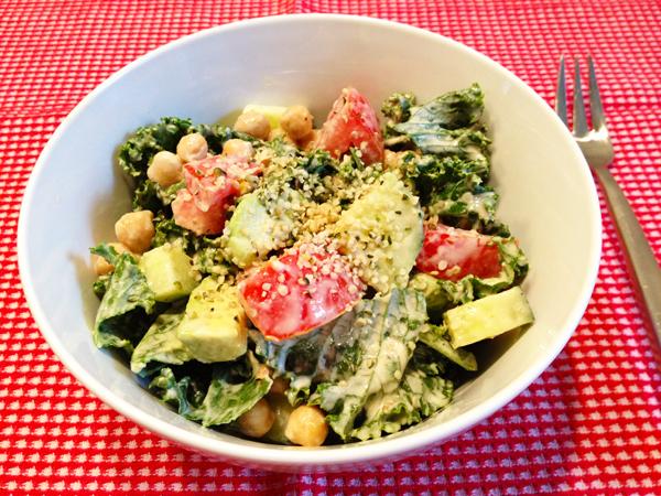 Kale Salad with Creamy Lemon Tahini Dressing Recipe | Yummly