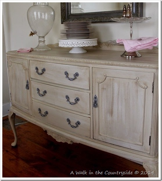 sideboard painted with chalk paint, glazed and waxed