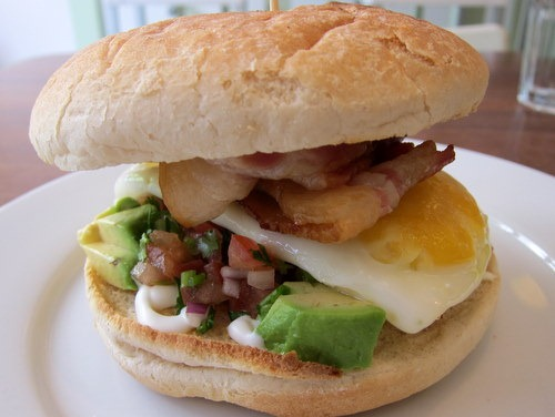 """Bacon and Egg Burger"" with Avocado and Tomato Salsa"