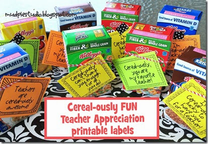 Cereal-ously Cute Teacher Appreciation Labels from mudpiestudio