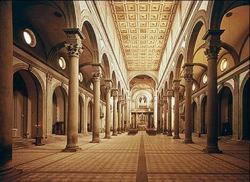 Arquitectura del quatroccento for Interior iglesia san lorenzo brunelleschi