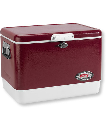 Keep food and drinks ice cold in this Coleman Steel-Belted Cooler.  It will keep ice frozen for up to three days in 100 degrees!