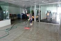 Ben with the squeegie mop