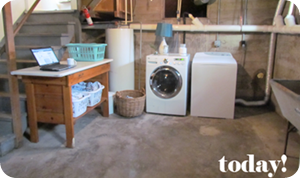 unfinished basement laundry