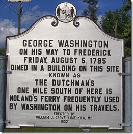 George Washington dined at The Dutchman, Frederick Co., MD