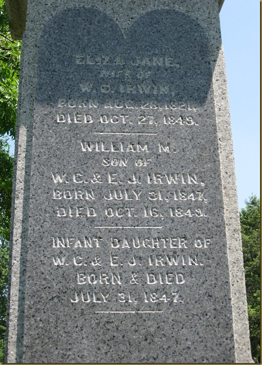 Eliza Jane (Baxter) wife of William Cox Irwin - William M. son of William Cox & Eliza Jane Irwin - Infant Daughter of William Cox and Eliza Jane Irwin