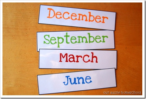 Our Aussie Homeschool: Pocket Chart Calendar Printables