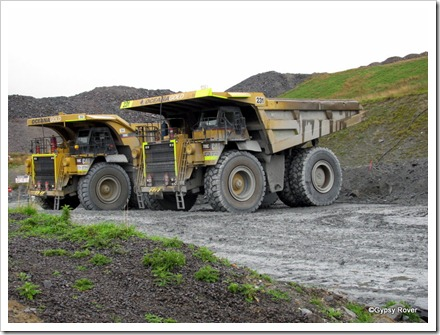 190 ton Caterpillar powered dump trucks.
