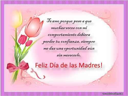 Feliz dia de las madres con mensaje bonito para dedicar