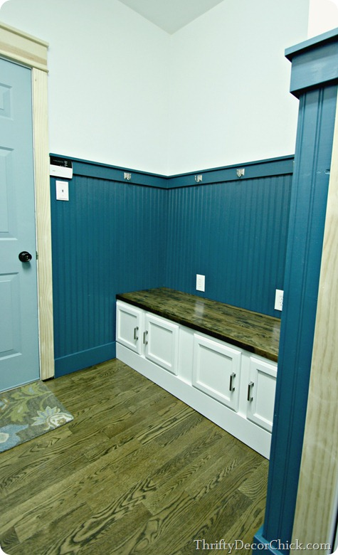 beadboard and built in bench in mud room