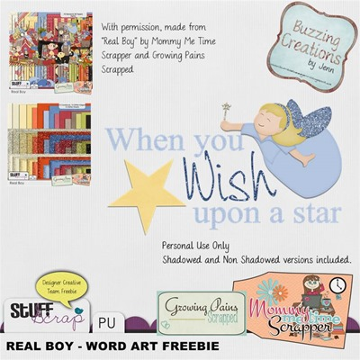 Mommy Me Time Scrapper - Real Boy - Wordart Freebie Preview