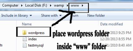 place wordpress folder