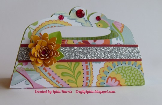 Cricut Artiste purse with Rolled Rose, Chantilly paper & Glitter gems