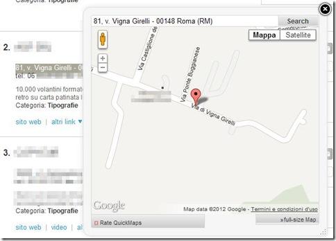 Quick Maps mappa Google Mpas nella finestra popup