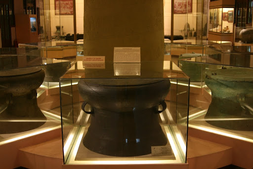 Dong So Bronze Drum (2-2,500 BP) used in festivals, rituals and army command. Quite beautiful etchings cover the whole drum.