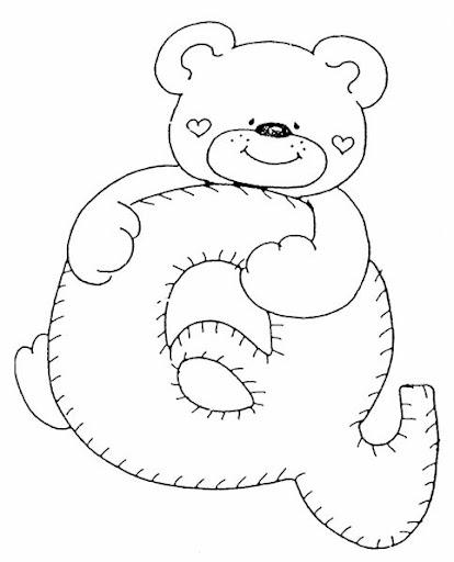 Letras con osos para colorear - Imagui