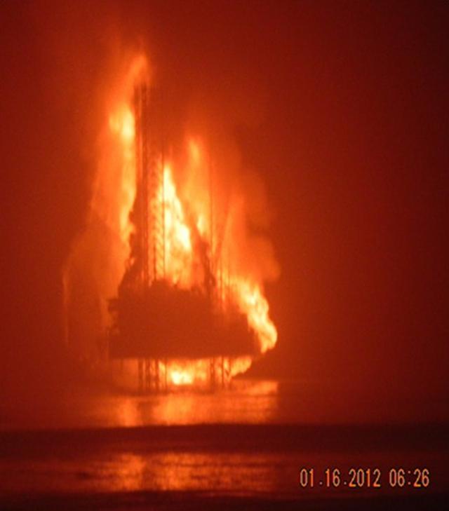 K.S. Endeavor jackup drilling rig burning off Nigeria's coast on 16 January 2012. Photo courtesy Chevron
