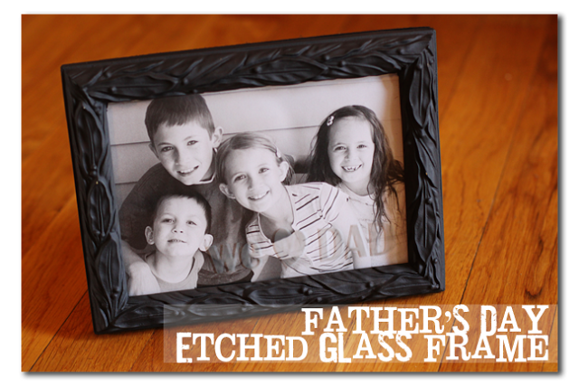 etched glass photo frame for Father's Day