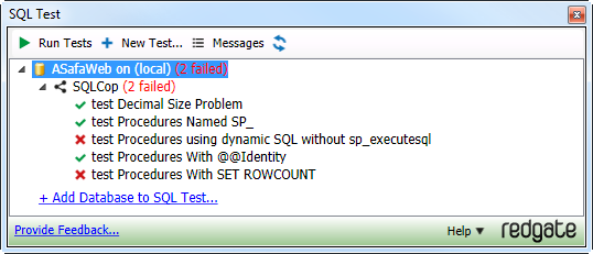 Two SQL Cop tests failing in ASafaWeb
