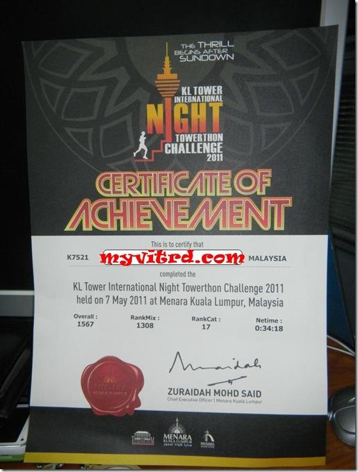 sijil KL tower night towerthon
