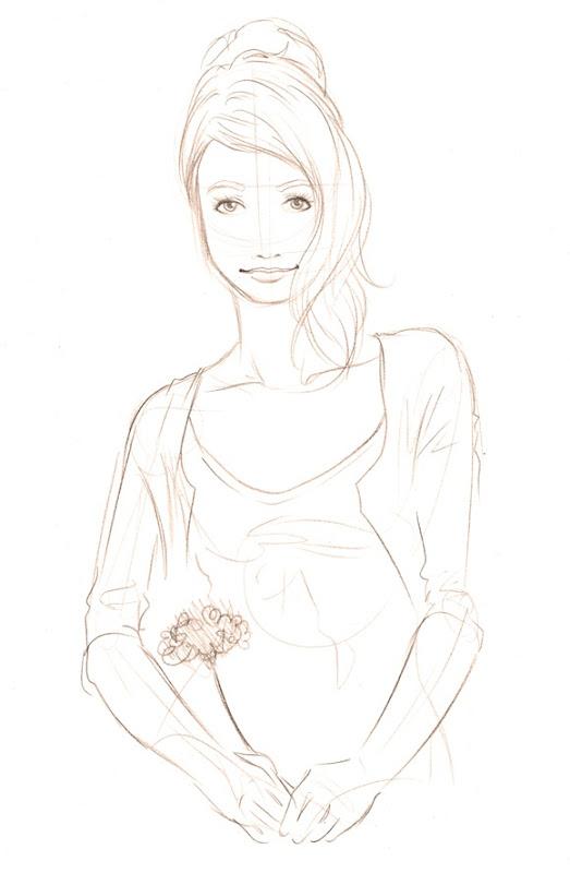 Sketch do dia rosa na mão