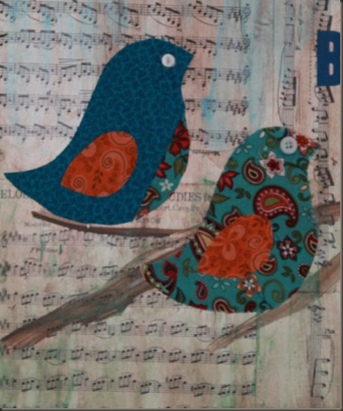 mixed media bird and sheet music canvas
