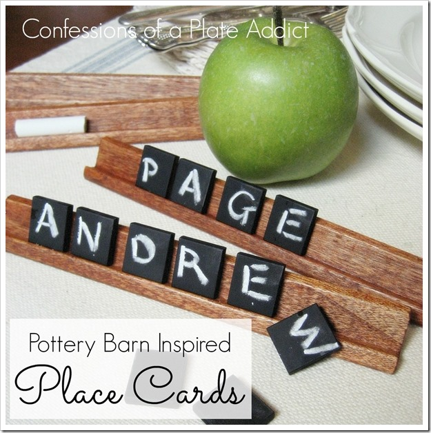 CONFESSIONS OF A PLATE ADDICT Pottery Barn Inspired Chalkboard Tile Place Cards
