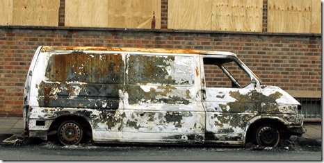 Burnt Out Van In Digbeth