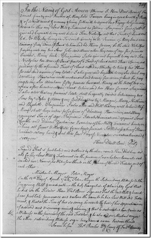 BOONE, Johann 5067 - 1761 Will