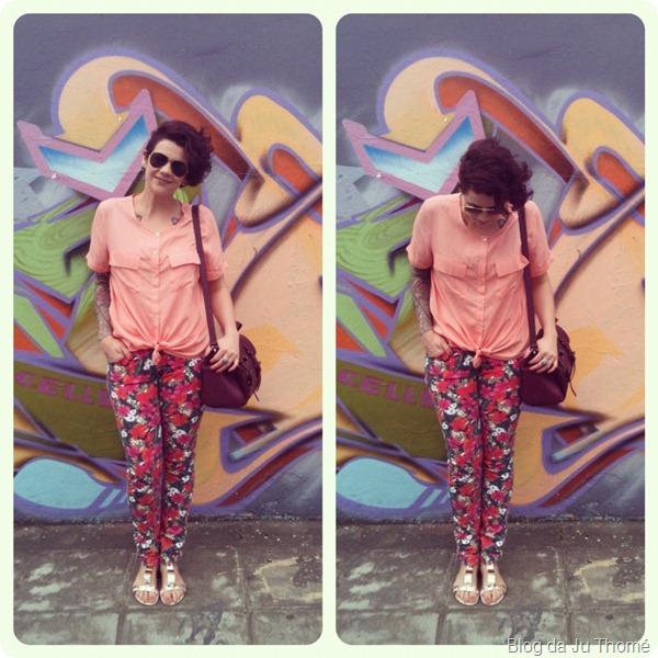 look calça floral camisa candy