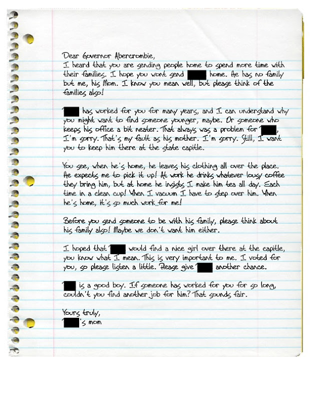 Letter to Abercrombie