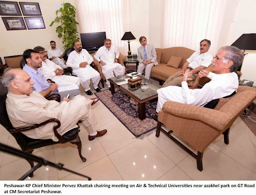 "17th Sep - 2014 #kpkupdates   #NayaKPK   #KPK   #NayaPakistan <br /><br />[CM chairs meeting about Air and Technical Universities in Azakhel Nowshera]<br /><br />Provincial govt has decided to search and provide alternate land for Botinical garden presently at Azakhel Park near the Peshawar University campus on the request of University administration. Similarly work on two Universities has also been directed to expedite on fast track basis.<br />It merit mention here that Chief Minister Khyber Pakhtunkhwa Pervez Khattak has accorded approval to the establishment of two separate universities viz Air University and Technical University on a vast piece of land at Aza Khel, on GT Road and directed the concerned authorities to take necessary steps to expedite work on the projects and put them on ground in the shortest possible time. There exists a botanical garden spreading on 77 kanals while the rest of more than 650 kanal land of district council Nowshera is lying useless on which state of the art Air university and technical university of international standard will be setup.<br />A high level meeting to review the intial progress on the establishment of two new universities was held at CM Secretariat Peshawar with Chief Minister Khyber Pakhtunkhwa Pervez Khattak in the chair. Besides, Minister for Higher Education & Information, Mushtaq Ghani, Vice Chancellor University of Peshawar Dr. Rasool Jan, Vice Chancellor Engineering University of Technology Syed Imtiaz Hussain Gillani, Vice Chancellor Agriculture University, Chairman CRC Haji Dil Roze, Principal Secretary to CM Mohammad Ashfaq and other high ups of concerned departments attended the meeting.<br />The proposed Air University will be established under the auspices of Pakistan Air Force while Technical University will be established by provincial Higher Education department. The Chief Minister termed the establishment of both the Universities as a milestone step and said that the establishment of these universities unique in nature would have a far reaching impacts not only on education sector but on the economy of the province as well adding that there would usher in a new era of economic prosperity and eco beauty in the province because technical education at universities level would get boost and new opportunities of employment, research and innovation would be explored.<br />Pervez Khattak was of the view that owing to its peculiar geographical location, Aza Khel was very much suitable for the establishment of such educational institutions while a number of educational institutions were already being setup in the same locality. He termed the promotion of technical education as the need of the hour and the best way to address the core issue of unemployment. He said that with the establishment of the technical university, Vocational & technical education would be promoted on modern and scientific lines and resultantly, not only maximum employment opportunities would be provided to the jobless young lots but industrial sector would also groom in the province.<br />""our province has suffered great losses because of dis-continuation of policies and lack of decision power in the past regimes but the same will not happen anymore and now whatever decision is once made it will be implemented at all costs and all such schemes of national importance will never be thrown in the cold storage"", the Chief Minister resolved. He said that both the universities will not be limited to imparting traditional education and training but these will be hubs of researches and inventions wherein researches works of international standard would be carried out besides imparting all types of technical training and ultimately our young generation will be inclined towards creative activities and inventions. The participants of the meeting were told on the occasion that the schemes of technical university had been included in the provincial ADP 2013-14 with an allocation of Rs.500 million initially whereas the scheme of Air University would be financed and supported by Pakistan Air Force.<br />The Chief Minister also directed the authorities to adopt international standards in the planning, designing and construction of both the universities. Vice Chancellor, Peshawar University Dr. Rasool Jan assured that the botanical garden would be turned into a centre of research activities as well as a point of scenic beauty. The VCs of Engineering, Agriculture and Peshawar Universities also assured all possible professional and technical assistance to the provincial government in the establishment of the two new specialized universities at Azakhel."