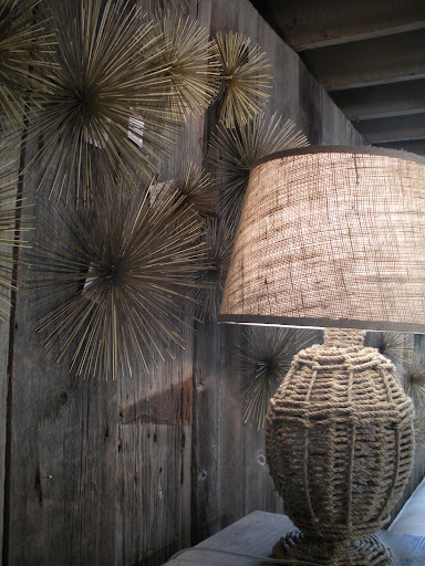 This woven lamp-base and shade are nautical and refreshing.