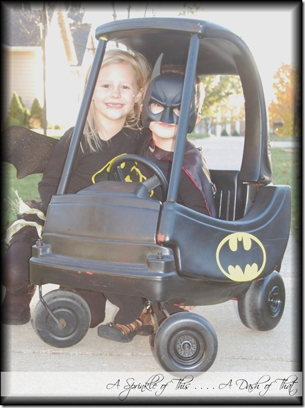 Batman Batgirl and the Batmobile! {A Sprinkle of This . . . . A Dash of That}