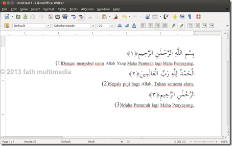 LibreOffice Writer_insert AlQuran text