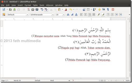 LibreOffice Writer_insert AlQuran text