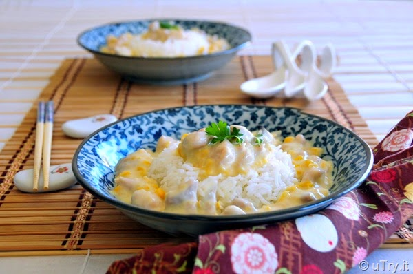 Cream Corn with Chicken Over Rice (忌廉粟米雞粒飯)   http://uTry.it