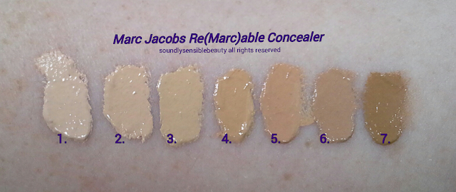 Marc Jacobs Re(Marc)able Concealer Swatches of Shades- 1. Awake, 2. Alive, 3. Young, 4. Glow, 5. Perfect, 6. Fresh, 7. Bright