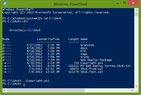 Executing Copyright PowerShell script using PowerShell command line tool